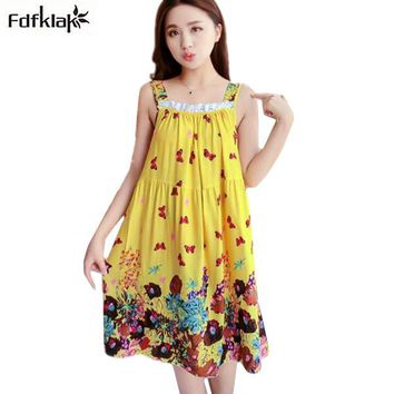 Fdfklak Summer Nightgown Women Sleeveless Sexy Lingerie Print Cotton Nightdress Female Night Shirt Loose Sleepwear Sleepshirt