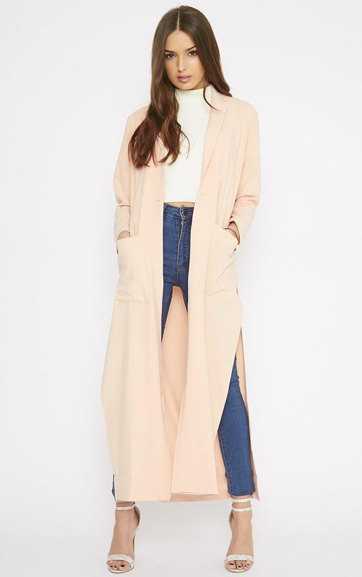 Lois Peach Maxi Duster Coat Coats From Pretty Little Thing