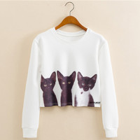 White Long Sleeve Cartoon Cat Print Cropped Sweatshirt