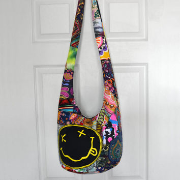 Hobo Bag Crossbody Bag Sling Bag Hippie Purse Patchwork Crazy Quilt Boho Bag Bohemian Purse Nirvana Smiley T-Shirt Handmade Slouch Bag Hobo