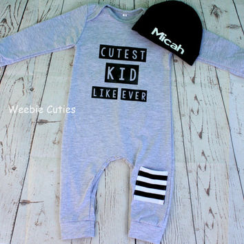 Baby Boy Outfit, Baby Boy clothes, Grey baby Boy Romper, Newborn one piece Boy Outfit, Baby shower Gifts, Boy Take Home Outfit, Baby Boy
