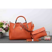 Prada Stylish Women Pure Color Flower Strap Leather Satchel Bag Shoulder Bag Handbag Crossbody Set Two Piece Orange I-XS-PJ-BB