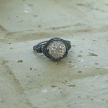 Gunmetal and pave rhinestone wire wrapped ring, boho, simple, everday, victorian, vintage look