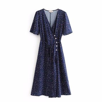 2018 women french vintage v neck dots print buttons midi dress elegant female vestidos short sleeve lace up party dresses DS756