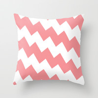 Chevron Bias in Coral Throw Pillow by House of Jennifer