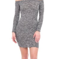 MARLED OFF THE SHOULDER RIBBED KNIT BODYCON DRESS