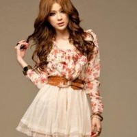 FLORAL LOVE CHIFFON DAY DRESS WITH BELT