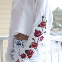My Own Way White Rose Embroidered Crop Top