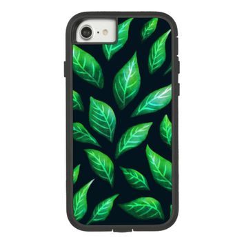 Abstract Ink Painted Green Leaves Protective Case-Mate Tough Extreme iPhone 8/7 Case