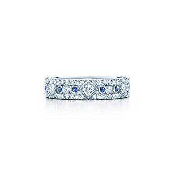Tiffany & Co. - Tiffany Jazz™ narrow band ring in platinum with diamonds and sapphires.