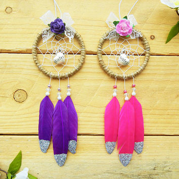 Sister Dreamcatcher Set: Gift for Sister, Sister-In-Law, Long Distance Sister Gift, Rearview Mirror Accessory, Car Decor, Sister Birthday