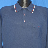 80s Gino Paoli Blue Pullover Polo Sweater Large