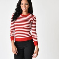 Retro Style Red & White Stripe Long Sleeve Knit Sweater Top