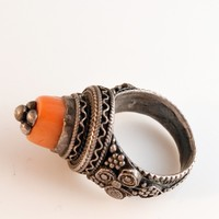 Vintage Bedouin Jewelry Yemeni Silver and Coral Ring