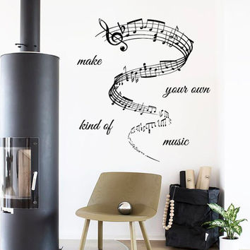 Wall Decals Quote Make Your Own Kind Of Music Home Vinyl Decal Sticker Kids Nursery Baby Room Decor kk371