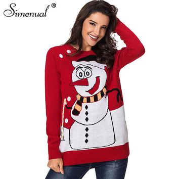 Simenual 2018 Winter red ugly christmas sweater female clothing snowman fashion cute santa sweaters fashion women pullovers sale