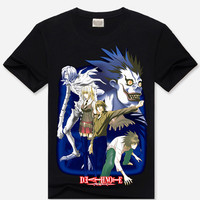 Black 3D Death Note Print Short Sleeve Graphic T-Shirt