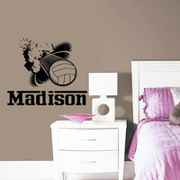 Wall Decal Name Girls Vinyl Sticker Personalized Custom Decals Art Home Decor Mural Wall Decals Volleyball Ball Player Sport Name Girl AN344