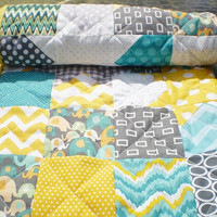 Baby elephant quilt,Patchwork crib blanket,baby boy bedding,baby girl quilt,woodland,grey,teal,yellow,chevron quilt,Catch a Falling Star