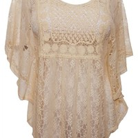 eVogues Plus Size Sheer Crochet Lace Poncho Top Ivory - 1X