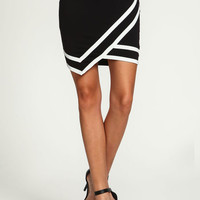 BLACK WRAP VARSITY SKIRT