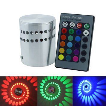 AC85-265V Led Wall Lamp RGB 3W With 24Key Remote Controller Lighting Sconce Indoor Decoration Light For KTV Bar Restaurant