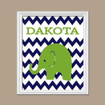 Elephant Boy Wall Art Nursery Artwork Child Custom Chevron Green Navy Pattern Boy Personalized Letters Name Baby Decor Gift Crib Door Hanger
