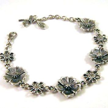 Silver Flower Bracelet Jewelry With Dragonfly Charm