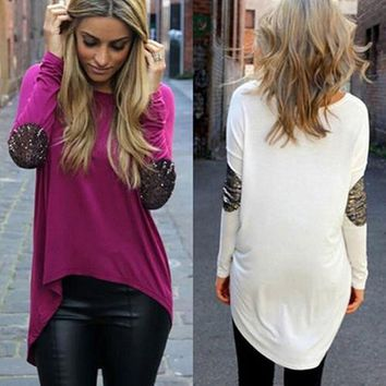 New Arrival Women Casual Sequin Stitching Long Sleeved Round Neck Irregular Hem Tops Blouse