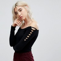Bershka Lattice Shoulder Detail Body at asos.com
