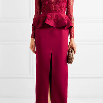 Zuhair Murad - Embellished corded lace and silk-blend crepe peplum gown