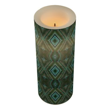 Olive Green and Teal Diamond Design Flameless Candle