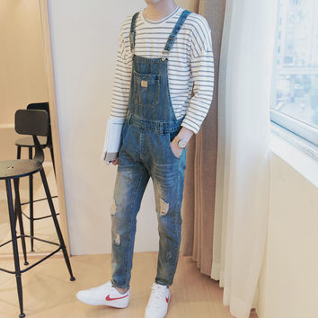 Men's Distressed Denim Overalls