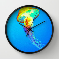 psychedelic jellyfish Wall Clock by Hardkitty