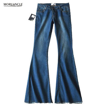 MORUANCLE 2017 New Flared Jeans Women Flare Retro Style Bell Bottom Jeans Joggers Female Wide Leg Denim Pants Trousers E0160