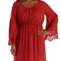 Plus Size Rust Lace Bell Sleeve Dress by Charlotte Russe
