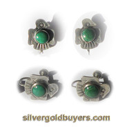 Sterling Silver and Green Turquoise Screw-back Earrings with Native American Indian Eagle Motif