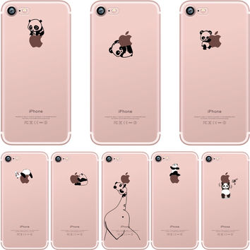 phone cases Lovely interesting animal pandas design Clear soft silicone TPU case cover for Apple iphone 6 6S 6plus 7 7plus 5S SE