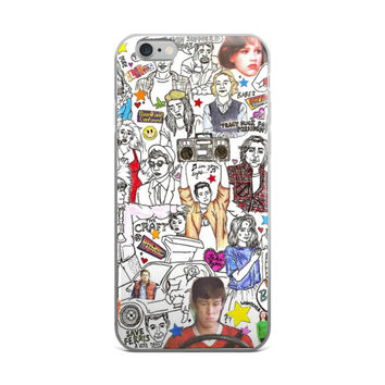 80's & 90's Stars Collage Drawings Back To The Future Holding Boom Box Save Ferris The Craft Babes Clerks Black & White iPhone 4 4s 5 5s 5C 6 6s 6 Plus 6s Plus 7 & 7 Plus Case