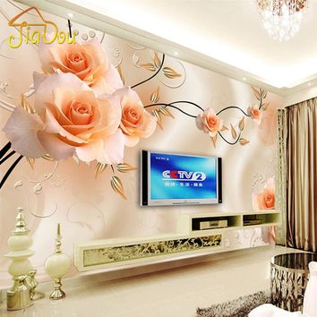 Custom Photo Mural Wallpaper Luxury Villas TV Backdrop Papel De Parede 3D Wallpaper For Walls Warm Rose Wall Papers Home Decor