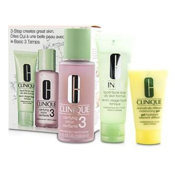 Clinique 3-Step Skin Care System (Skin Type 3): Liquid Facial Soap Oily Skin Formula 50ml + Clarifying Lotion 3 100ml + DDMG 30ml Skincare