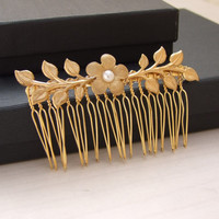 Floral hair comb leaf hair comb gold bridal hair comb hair piece wedding hair accessories branch gold comb