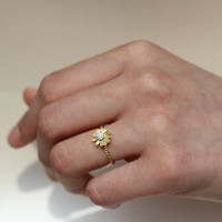 Delicate Flower Ring Gold color/ exquisitely Expressed with Metal