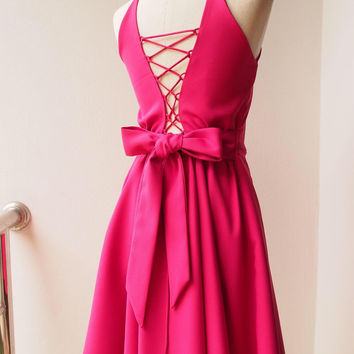 2017 Fuchsia dress Cerise Pink Dress Prom Dress Backless Deep Back Low Back Dress Pink Cocktail Dress Pink Summer Dress Wedding Dress Gown