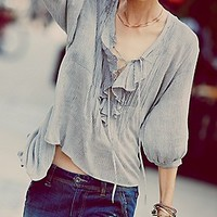 FP One Ruffle Me Up Striped Blouse at Free People Clothing Boutique