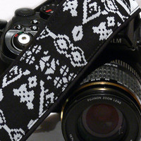 dSLR Camera Strap. Aztec Camera Strap. Gray and Black Camera Strap. Camera Accessories.