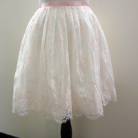 White and Pink Lace Skirt