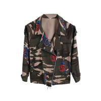 Bat sleeve Vintage Army Green camo denim jacket coat Rose Print Camouflage women Jeans coat FS0027