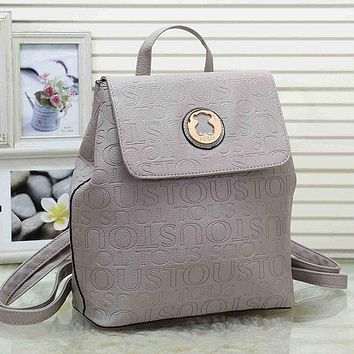 Tous Woman Men Fashion Leather Backpack Daypack Bookbag