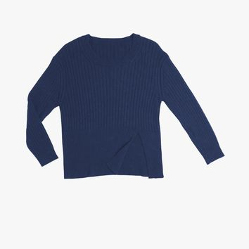 Cashmere Round Neck Ribbed Sweater